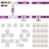 LED Strip Connectors and Mounting Clips Full Kit, 4 Pin 10mm Gapless Solderless Extension for SMD 5050 5V-12V-24V LED…