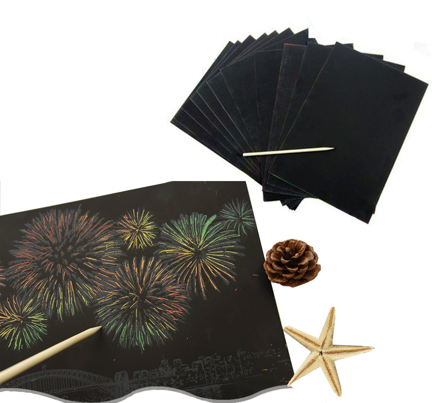 26PCS Kbraveo 20 Sheets 10x8 Inch Black Coated Scratch Papers Art Paper with 2 Pieces Wooden Stylus and 6 Pieces Drawing Stencils,Rainbow Scratch Paper For Kids