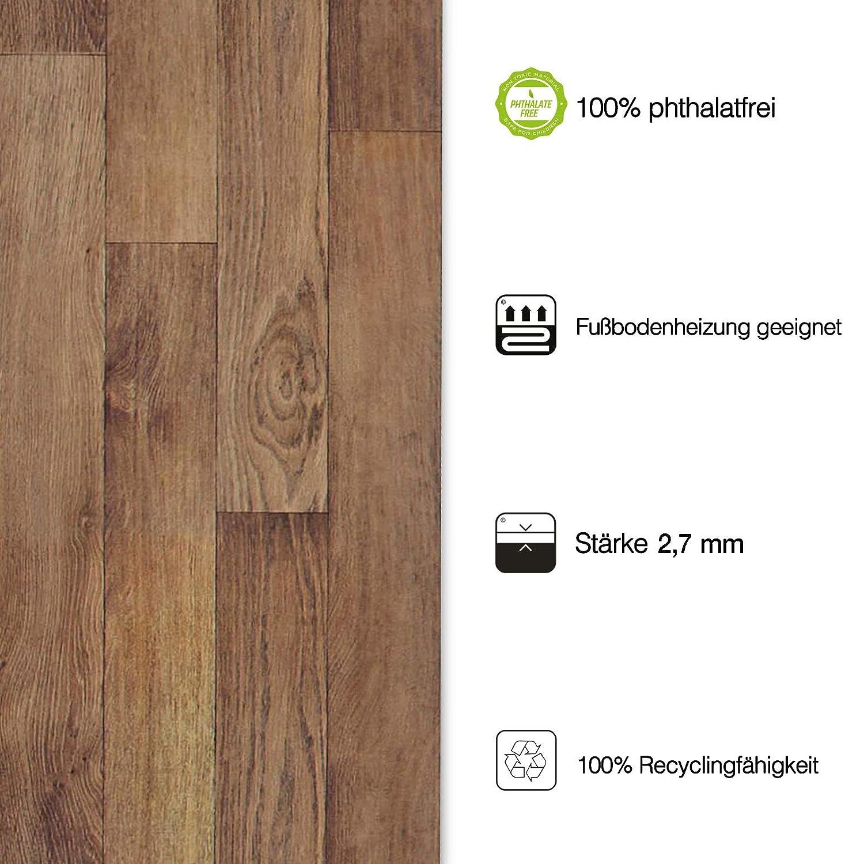 Meterware Oberfl/äche strukturiert gesch/äumt 100x200 cm edle Holzoptik - Eiche Gold extra abriebfester PVC Bodenbelag casa pura/® CV Bodenbelag Golden Oak