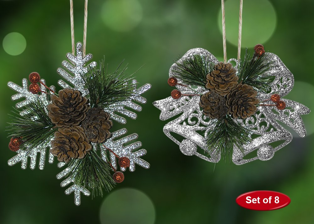 BANBERRY DESIGNS Pinecone Ornaments Christmas Farmhouse Decor 3551-2 Set of 8 Glittered Snowflakes and Bells with Pine Cones Greenery and Red Berries