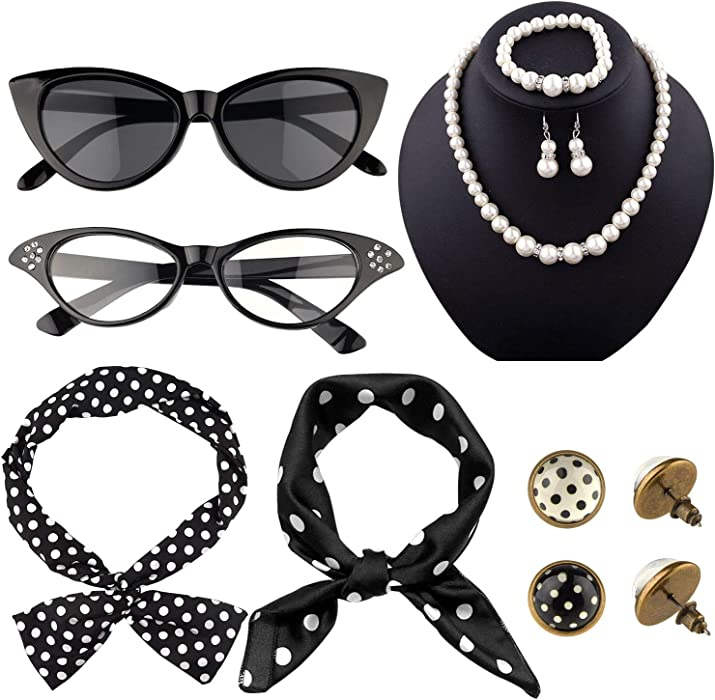 TUPARKA12Pcs 50s Costume Accessories Set for Party