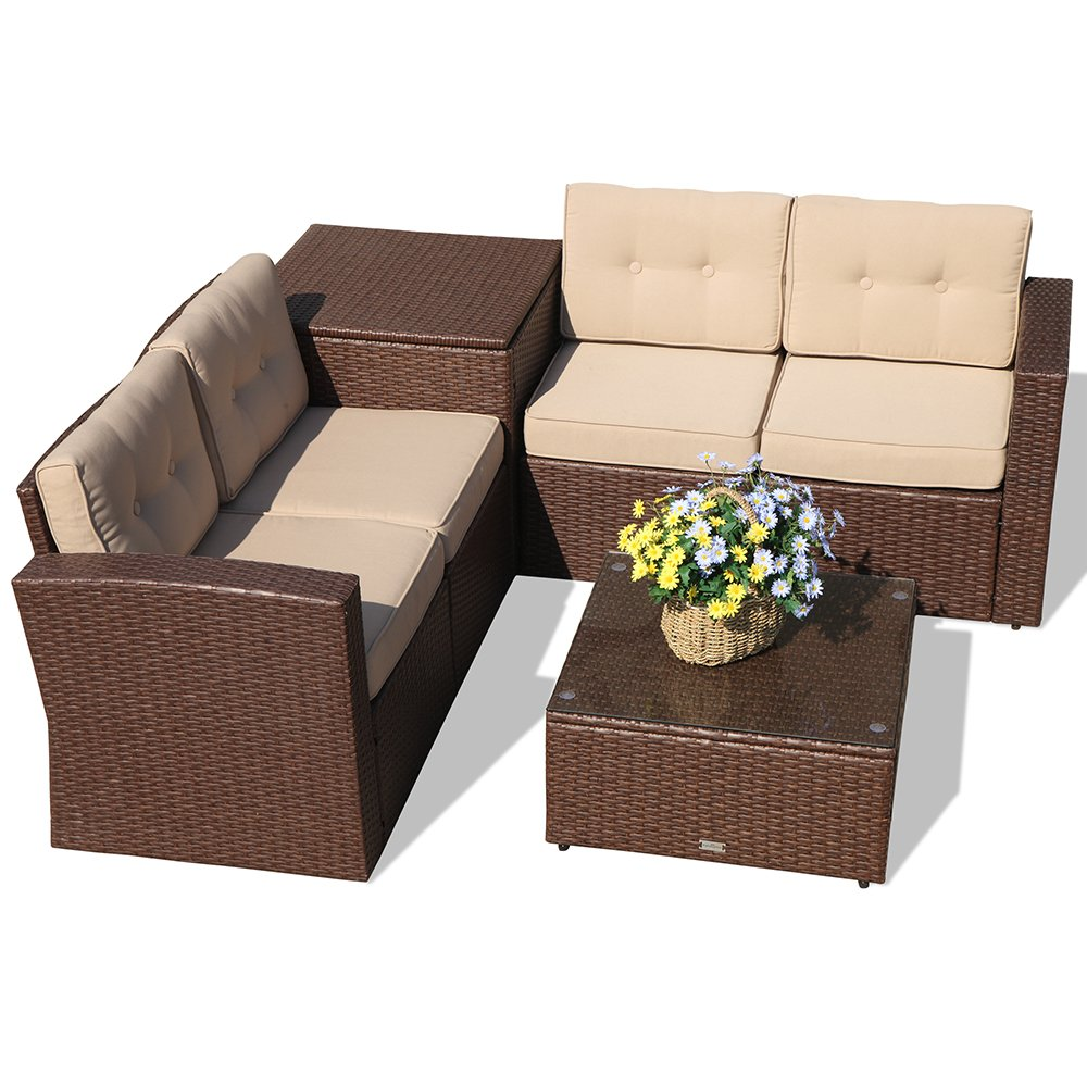 Amazon com super patio outdoor patio furniture set 6 piece all weather brown pe wicker sectional sofa with beige cushions aluminum frame garden