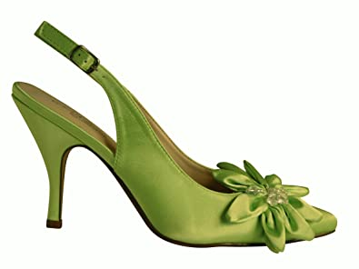 5ec9c64b1c2 Ongaro Petal. New pointed toe slingback in lime green satin with ...