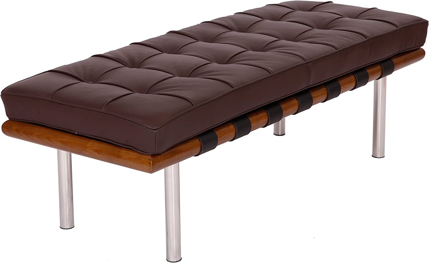 MLF Pavilion Bench 4 Colors 2 Sizes . High Resilient Foam. Italian Leather. Breathability, Steady, Durable, Artistic. Mattress Detachable. 52 Inch, Dark Brown Italian Leather Light Walnut