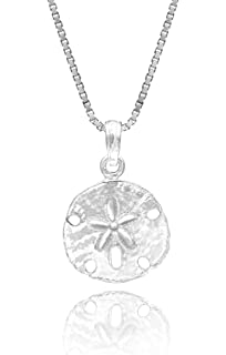 Amazon sterling silver sand dollar charm pendant jewelry sterling silver sand dollar necklace pendant with 18 box chain aloadofball Images