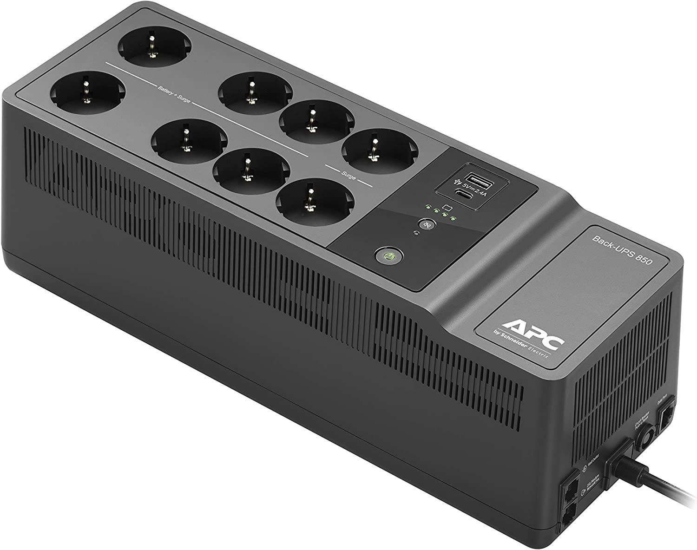 APC Back-UPS Essential BE850G2-FR - Inversor de sobretensión con batería de Reserva de 850 VA (8 Tomas, protección contra sobretensión, 2 Puertos USB rápidos Type-A y Type-C)