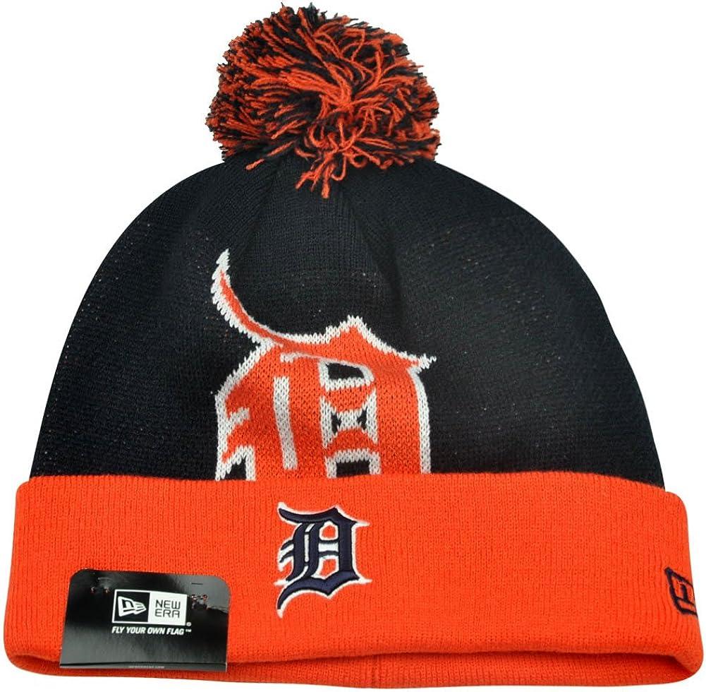 Detroit Tigers Logo Calgary Black and Orange Pom Pom Beanie Hat Knit Cap