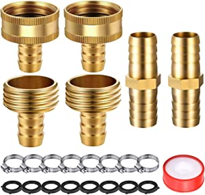 4 Sets 1/2 Inch Solid Brass Garden Hose Connector Hose Mender Water Hose Repair Kit Female Male Hose Coupling with Tape, Stainless Steel Clamp and 3/4 Inch Rubber Gasket