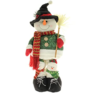 large free standing snowman christmas floor decoration with extendable legs height 100cm