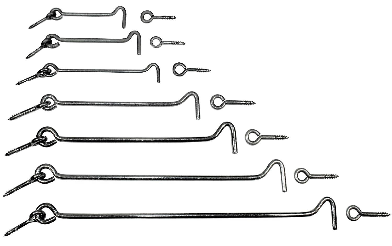 Mengen- und L/ängenauswahl m/öglich mit /Öse L/änge von 80 bis 300mm zur Auswahl 2, L/änge: 160mm SN-TEC Edelstahl Sturmhaken//Lukenhaken // /Überwurf rostfrei A2
