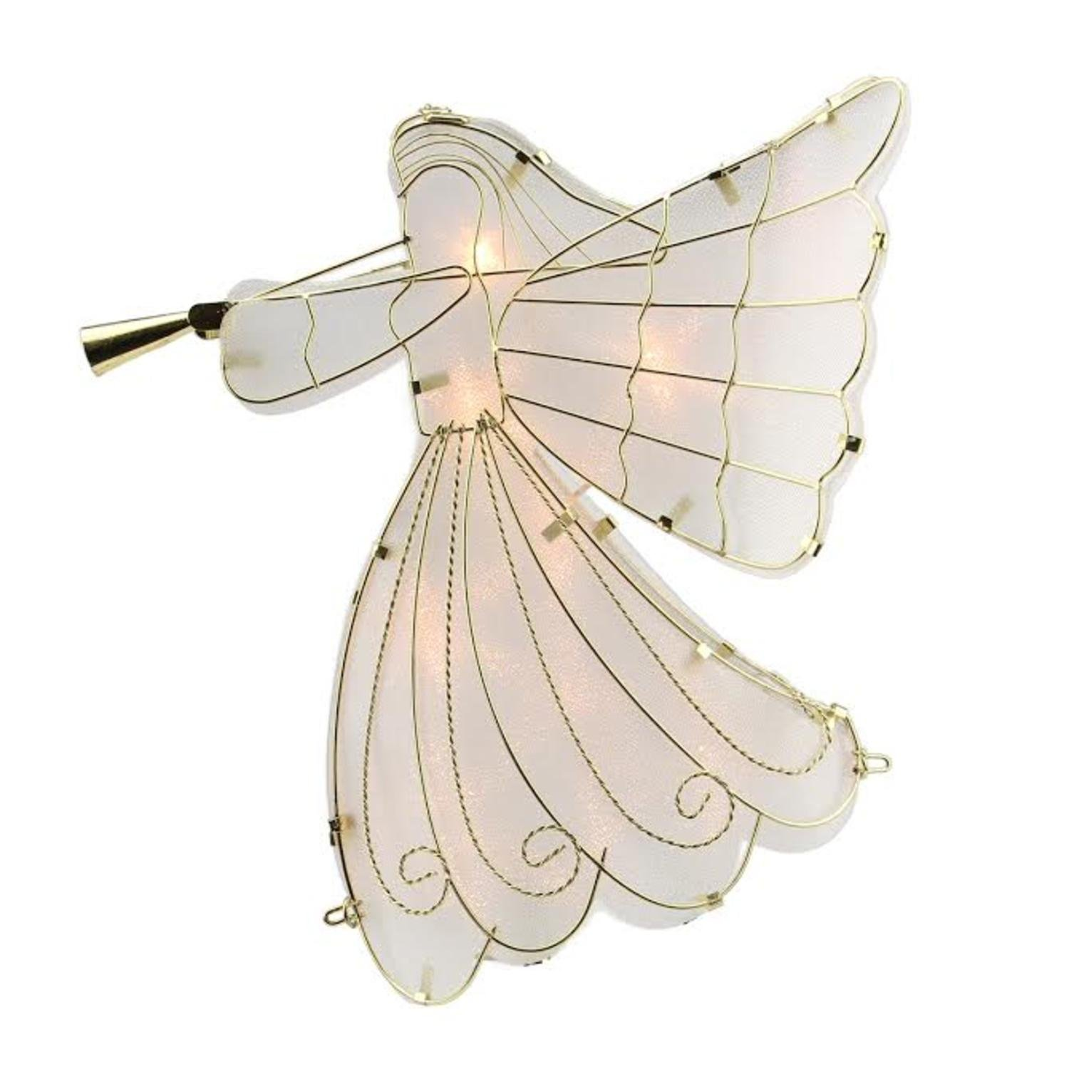 Sienna Lighted Gold Scroll Angel with Trumpet Christmas Tree Topper and Clear Lights, 10.5''