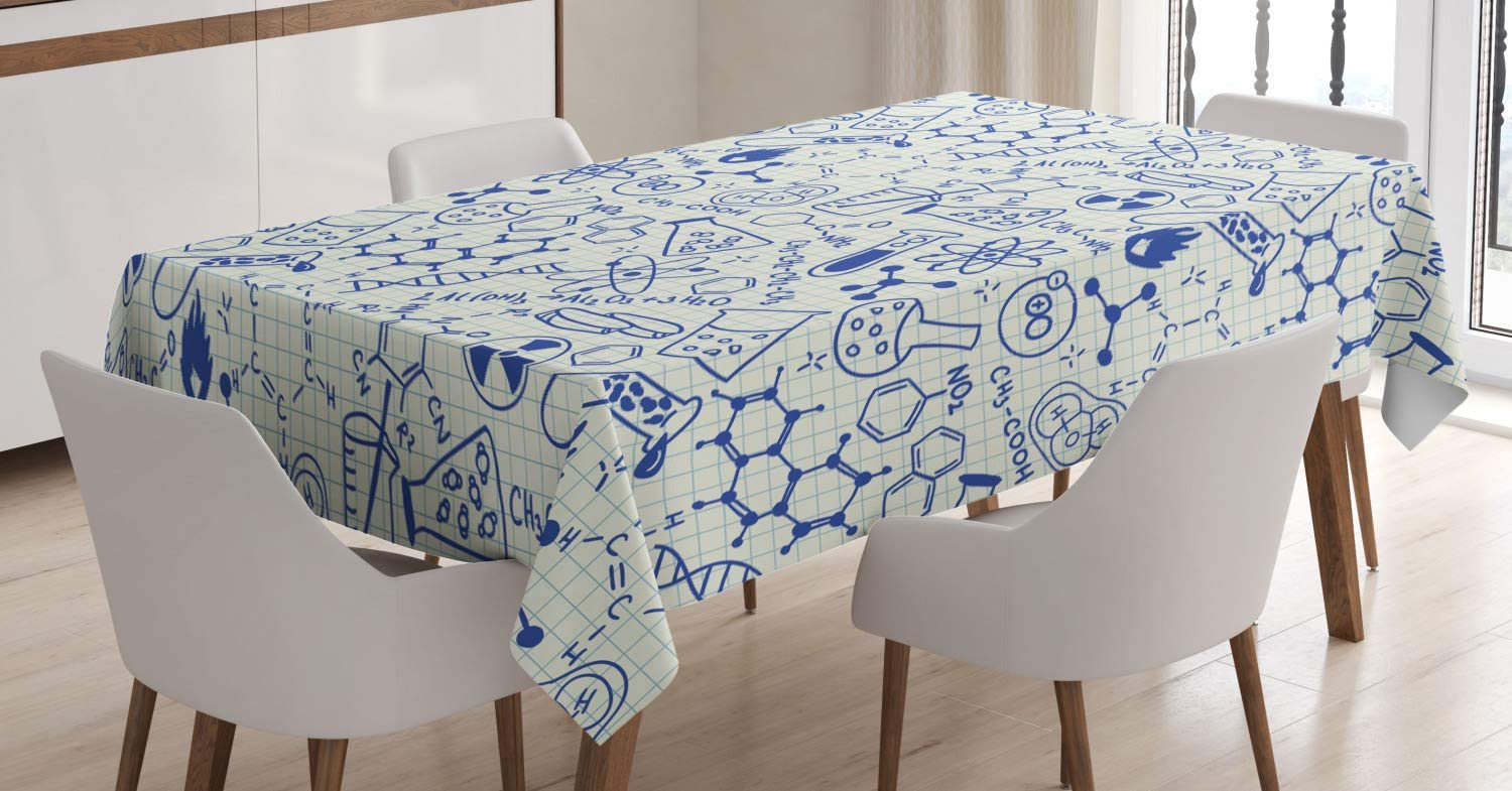 Ambesonne Cartoon Tablecloth, Science Chemistry Geometry Math Nerd Geek and Genius Themed Design Art, Rectangular Table Cover for Dining Room Kitchen Decor, 60