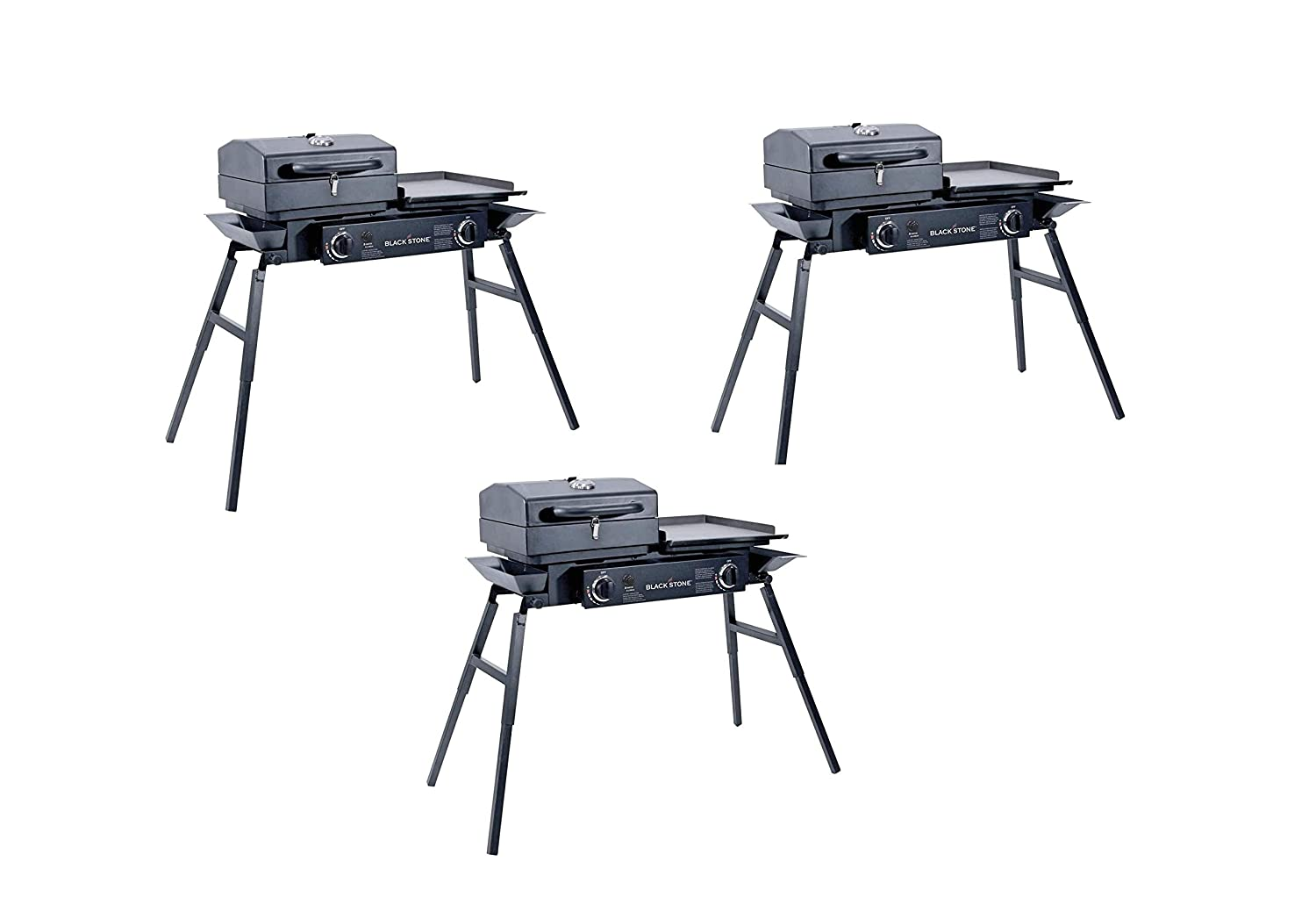 Portable Gas Grill and Griddle Combo Tailgater, Barbecue Box Two Open Burners Blackstone Grills Tailgater Griddle Top 2-Pack