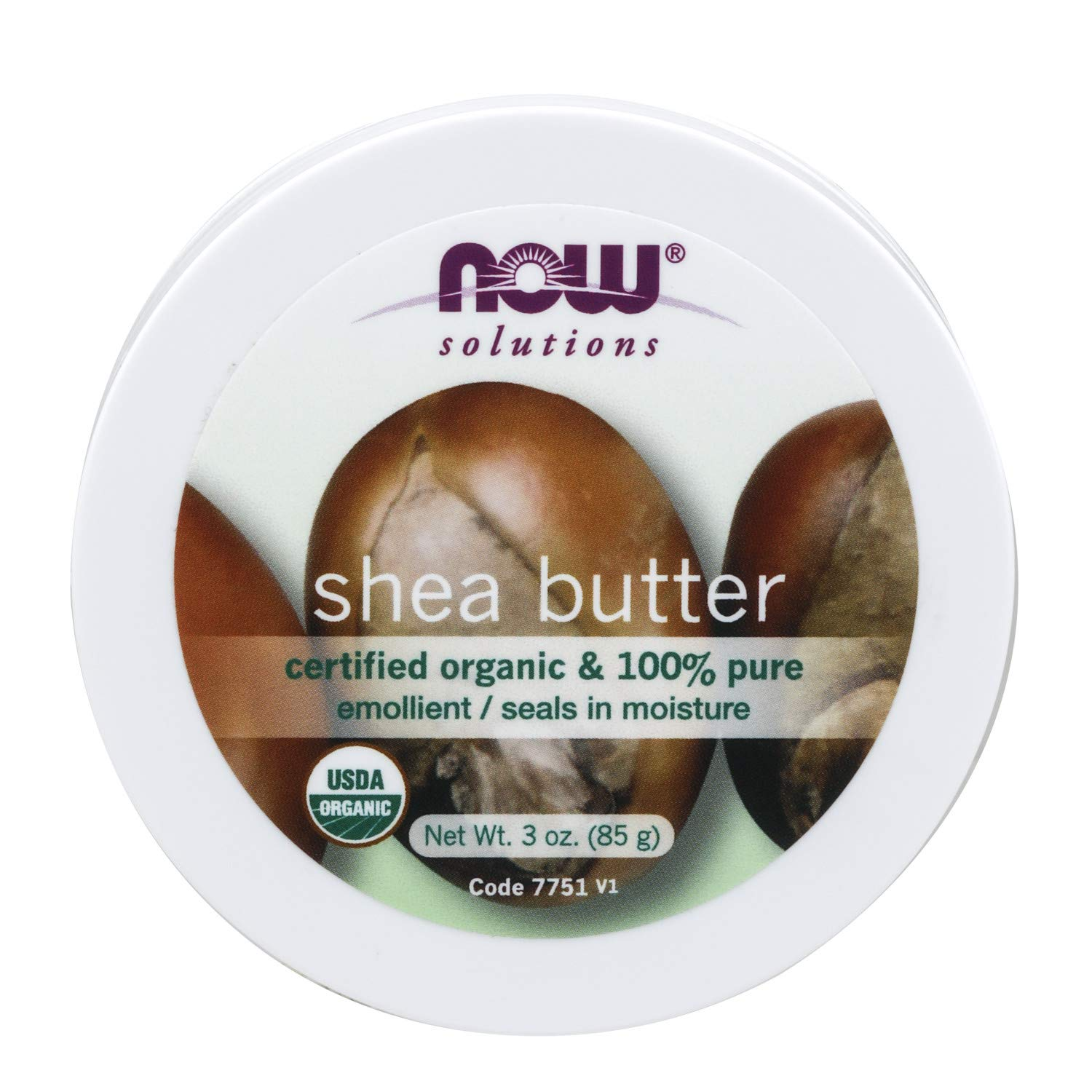 NOW Solutions, Certified Organic Shea Butter, Moisturizer For Rough And Dry Skin, Travel Size, 3-Ounce