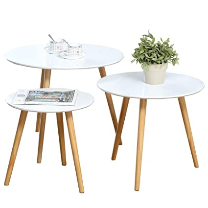 Ordinaire Nesting Tables Set Of 3 Coffee Table Round End Side Table Night Stand Table  Telephone Sofa