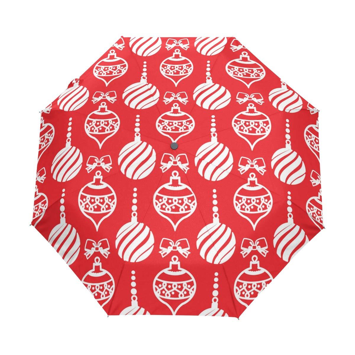 Super3DプリントハッピークリスマスクリスマスUPF50+アンチUVパラソル防雨防風3折りたたみ自動開閉傘 B07KFB5SF7