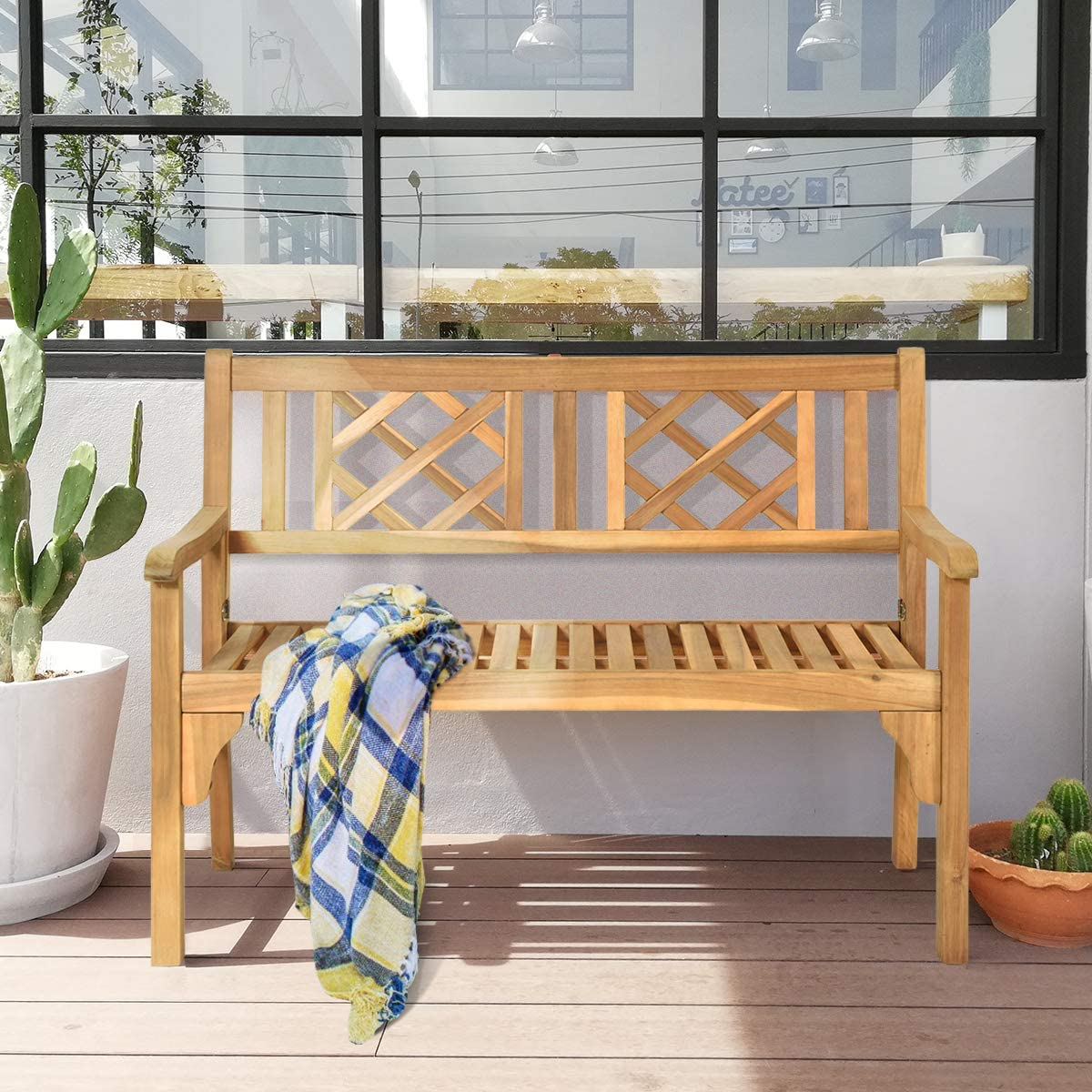 Giantex Patio Wooden Bench, 4 Ft Foldable Acacia Garden Bench, Two Person Loveseat Chair Solid with Curved Backrest and Armrest Ideal for Patio, Porch or Balcony Teak