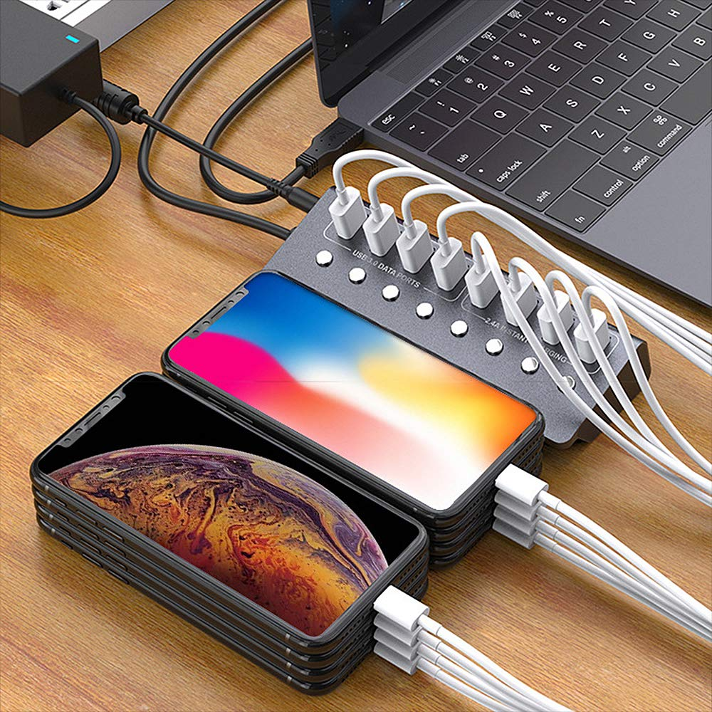 Powered USB 3.0 Hub Aluminum 8 Port USB Extend Hub with 12V//4A Power Adapter USB 3.0 Port Splitter with Individual Switch