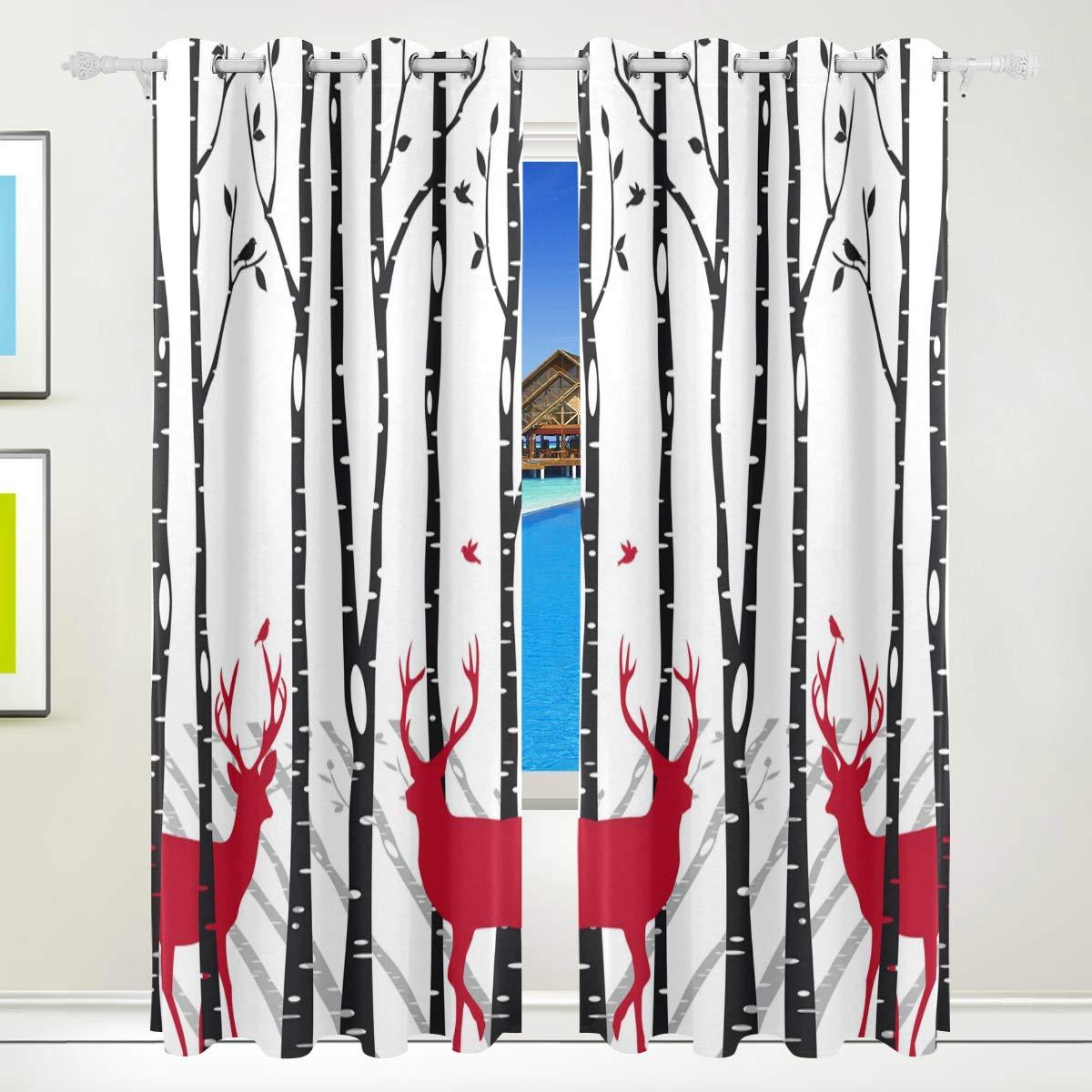 Ahomy Vorhänge Hirsch Birke Baum Thermo-Isoliert Ösenvorhang für Wohnzimmer Esszimmer Schlafzimmer 213,3 x 139,7 cm, 2 Stück