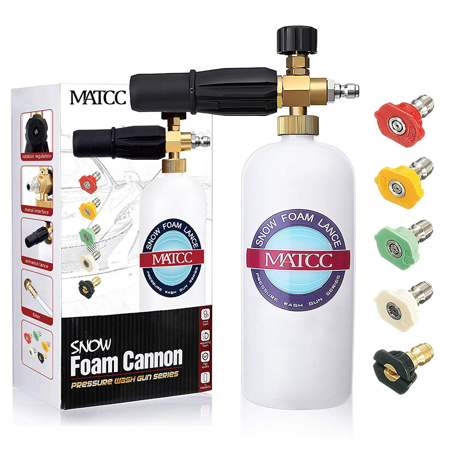 MATCC Foam Cannon Upgraded Foam Nozzle Pressure Washer Jet Wash Snow Foam Lance with 1/4'' Quick Connector Foam Blaster 5 Pressure Washer Nozzle Tips for Cleaning