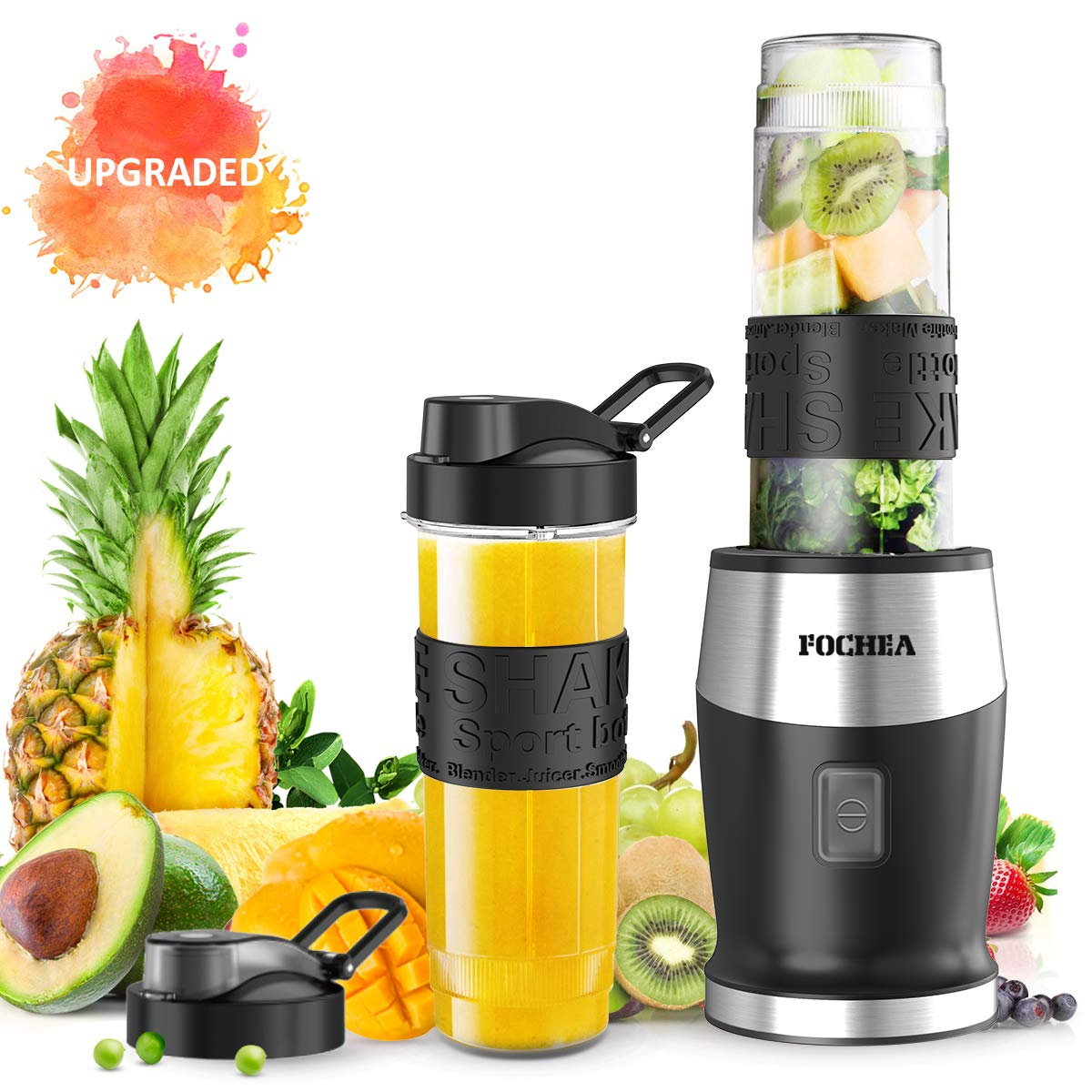 Smoothie Blender,Personal Blender Single Serve Small Blender for Juice shakes and Smoothies,with Two 570ml BPA-Free Portable Blender Bottles, 500W/24,000 RPM by FOCHEA