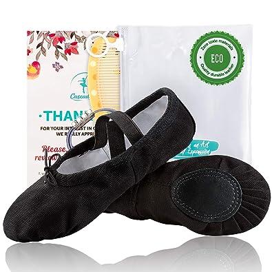9836e636b Amazon.com  Cascadella Cotton Black   White Ballet Shoes for Girls ...