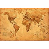World Map Antique Style Poster 36x24