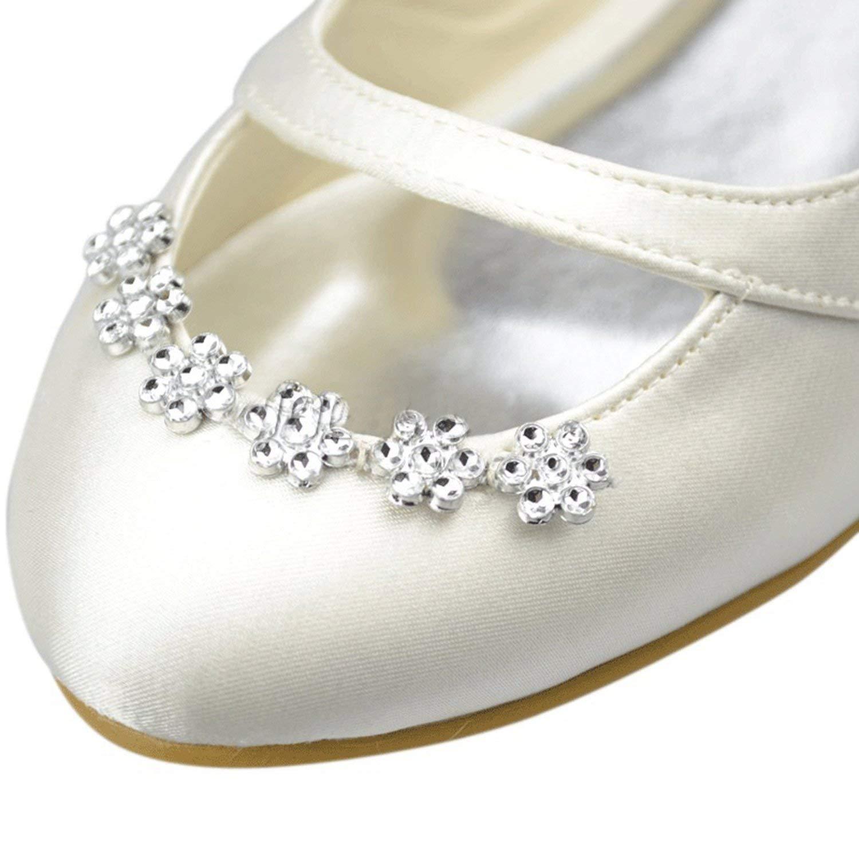 Qiusa Mädchen damen Kristalle Kristalle Kristalle Round Toe Slip auf Elfenbein Satin Hochzeit Kleid Ballerinas UK 5 (Farbe   - Größe   -) 7bc5e0