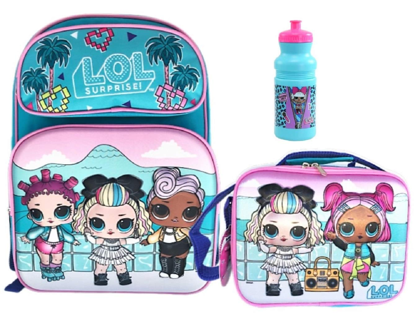 L.O.L. Surprise! Limited Edition Supreme BFF's 16 inch 3D Backpack with Insulated Lunch Tote and Water Bottle