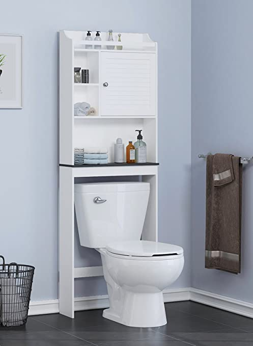 Spirich Home Bathroom Shelf Over The Toilet Bathroom Cabinet Organizer Over Toilet With Louver Door White Black Shelf