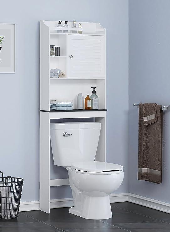 Spirich Home Estante de baño sobre el inodoro, armario de baño organizador sobre puerta de inodoro, acabado blanco