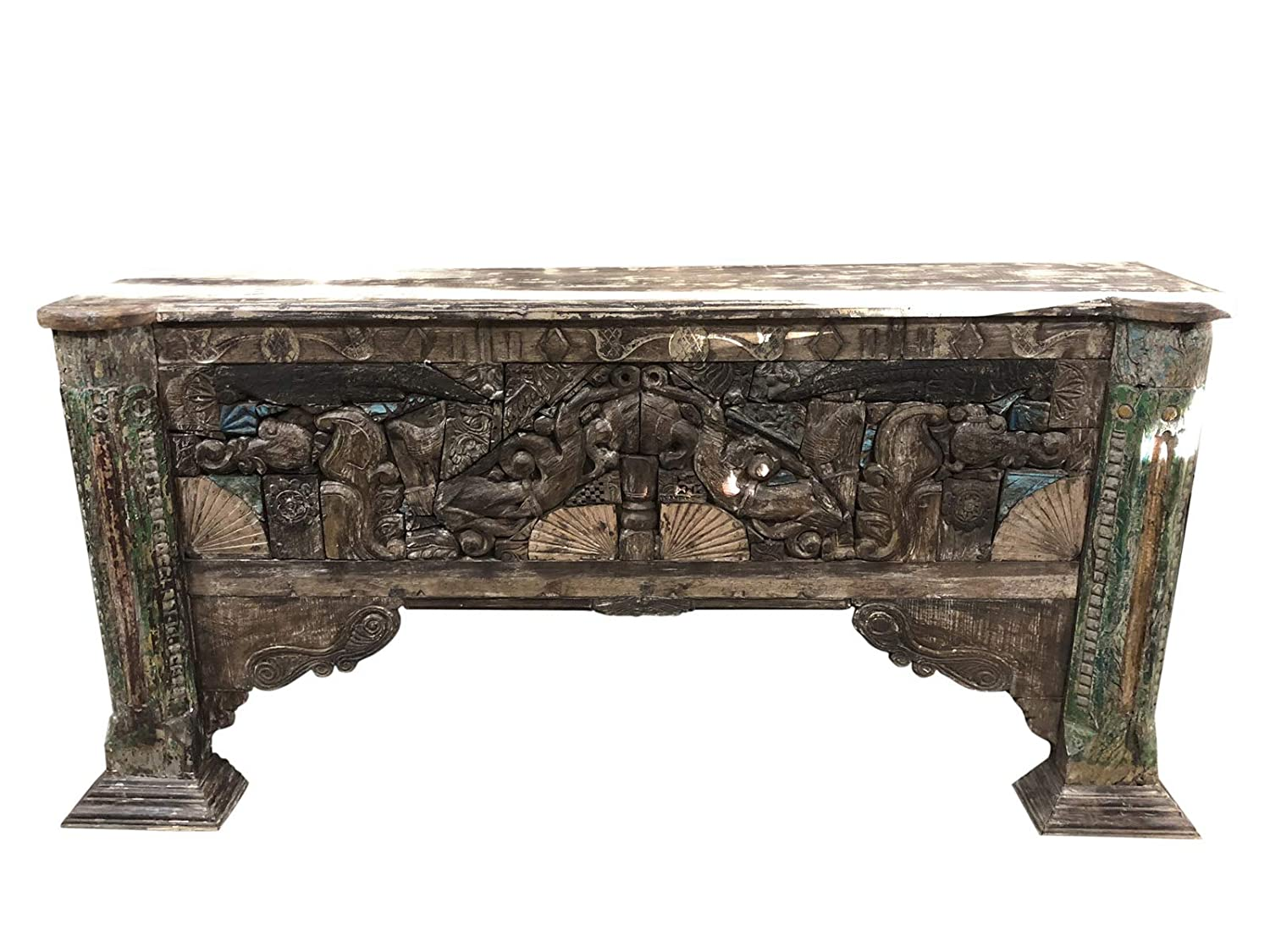 Amazon com mogul interior rustic sofa console table carved deep relief wood bohemian reclaimed vintage furniture kitchen dining