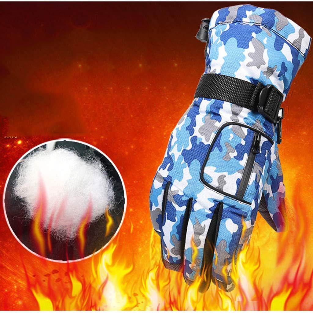 Sikye Mens Women Winter Camouflage Thermal Gloves Waterproof Anti-slip Velvet Ski Snow Gloves for Outdoor Activities