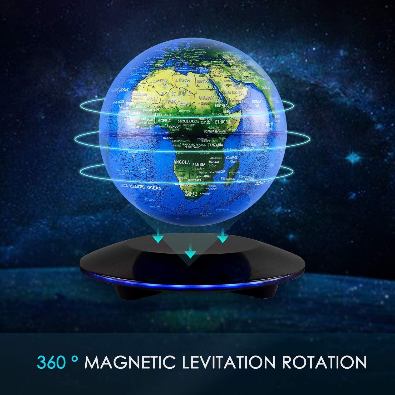 Yidali Schwebender Globus magnetisch schwebender Globus Weltkarte Elektronischer runder Globus mit LED-Licht Educational Globe Planets H/ängelampe f/ür Kinder Geschenk Schreibtisch Dekoration