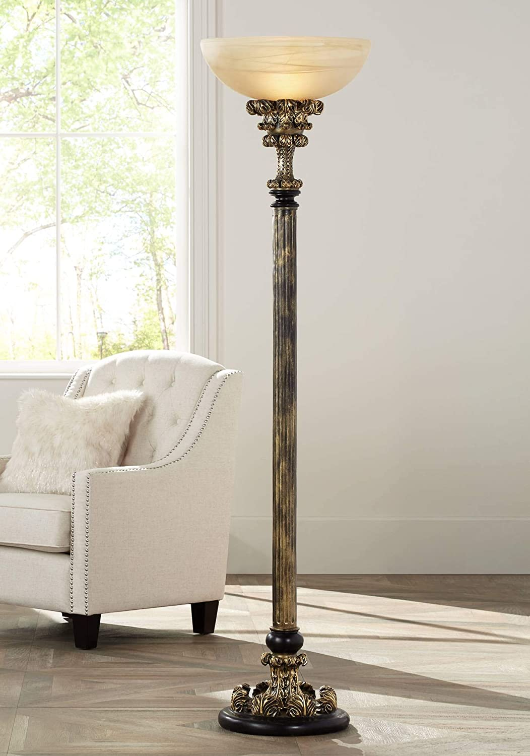 Florencio Traditional Torchiere Antique Gold Column Amber Glass ...