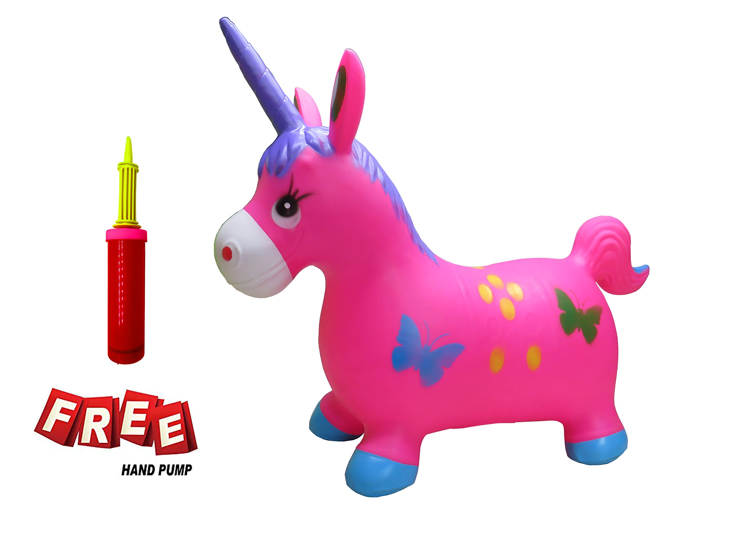 Welliboom Unicorn Hopper Kit, Pump Included, Inflatable Jumping Unicorn, Space Hopper, Ride-on Bouncy Unicorn Horse Hopper, Sit and Bounce, 5-Colors Available (Rose)