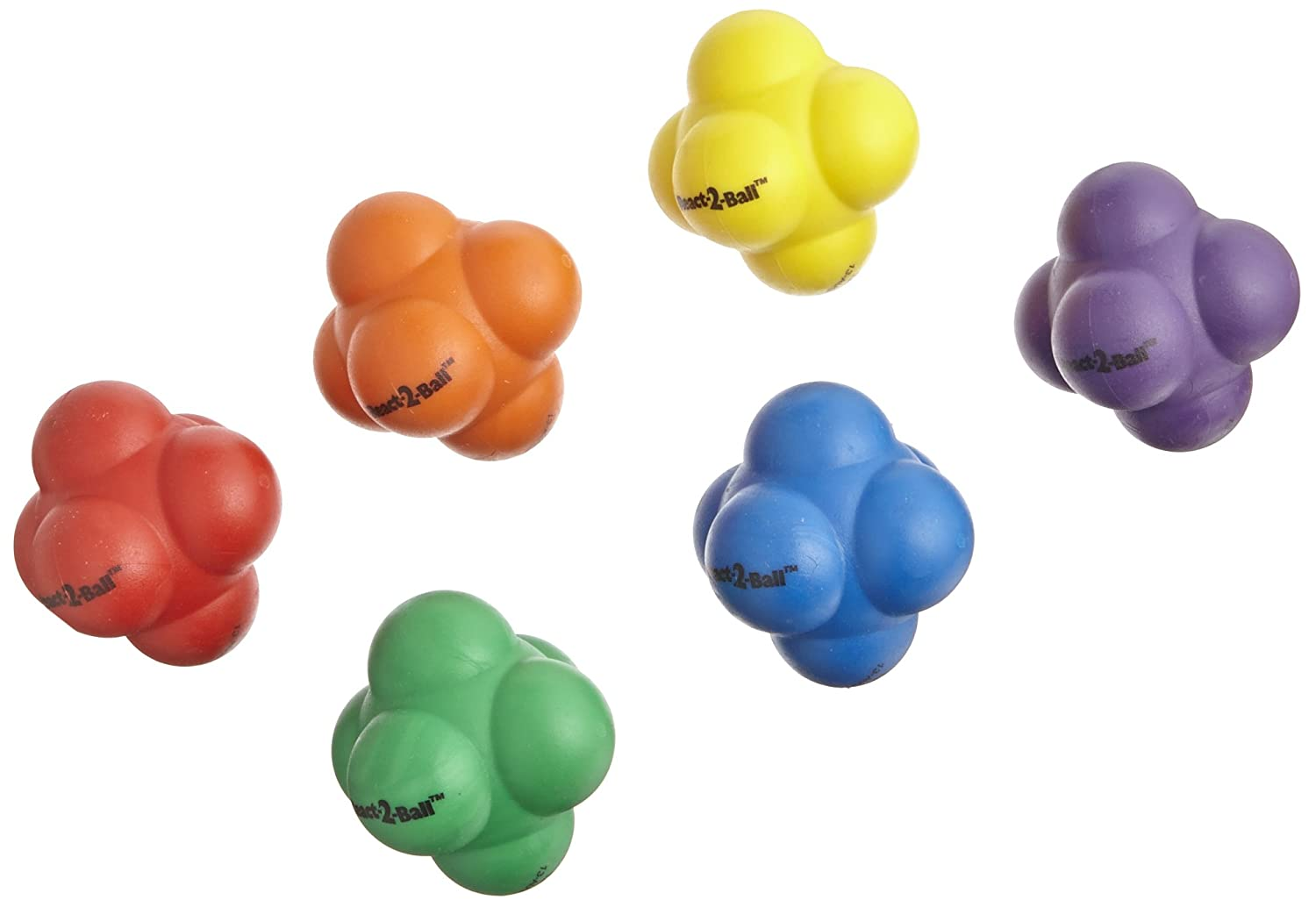 Sportime Rubber React-2-Ball with Erratic Bounce - Set of 6 - Multiple Colors