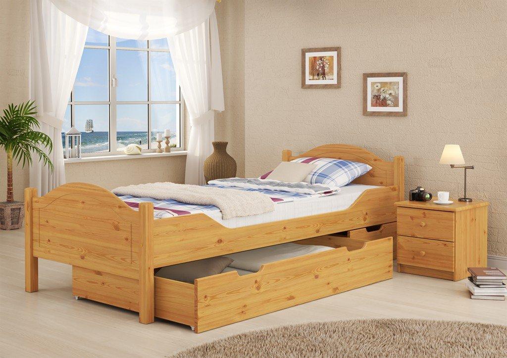Erst-Holz® Massivholz-Bett Kiefer Natur 100x200 Einzelbett Rollrost ...