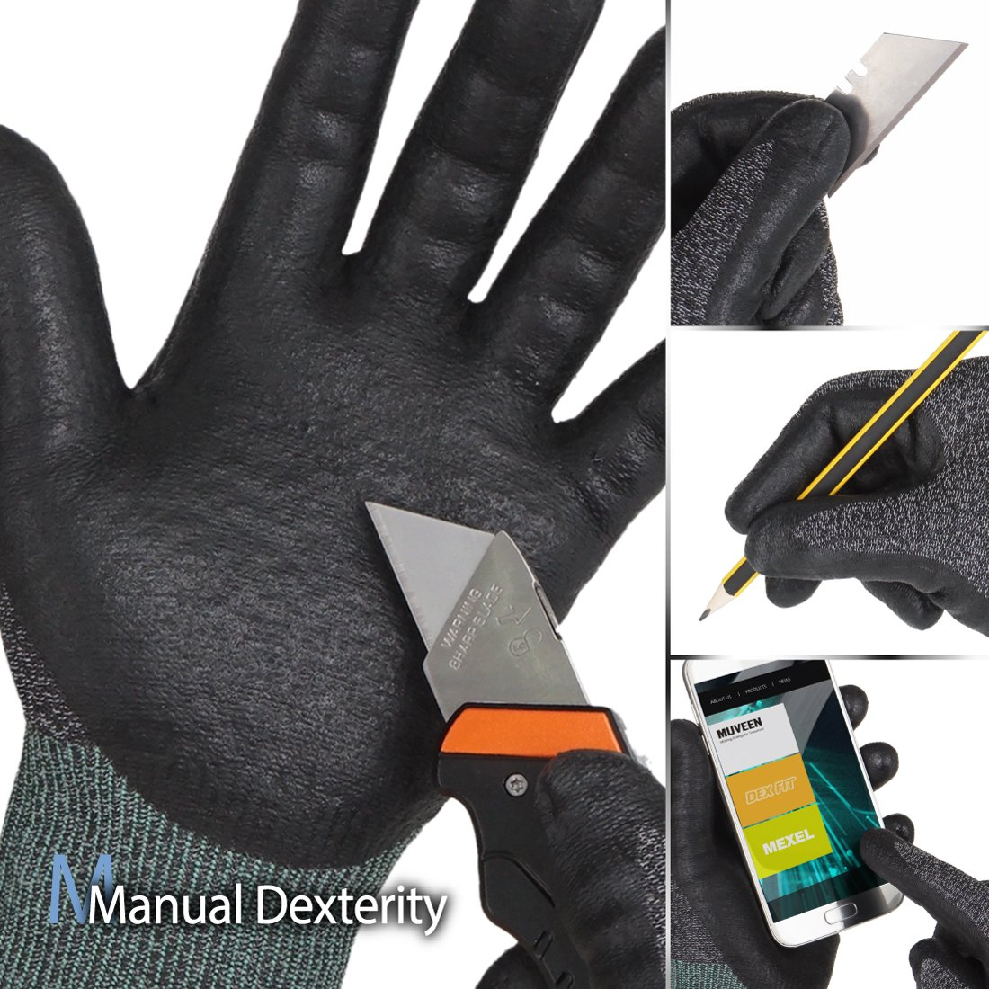 DEX FIT Utility 3D Cut Safety Gloves CR533, Comfort Stretch Fit, Power Grip, Smart Touch, Thin & Lightweight, Washable… 5