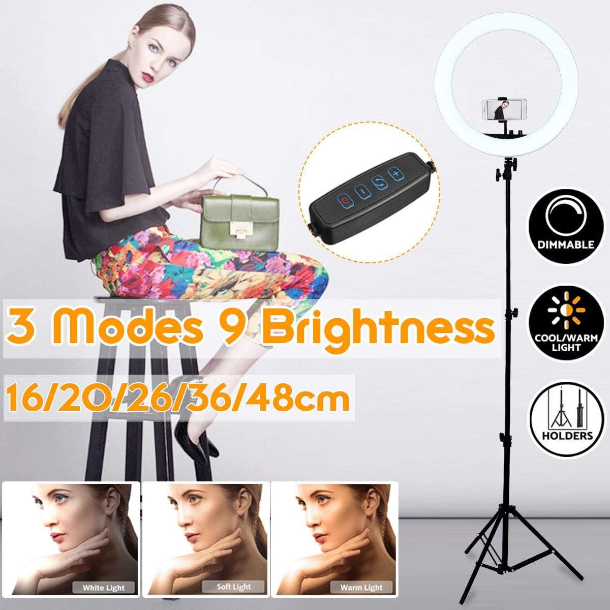 16//20//26//36//48cm Pography LED Selfie Ring Light Camera Phone Ring Lamp Video Live Studio Light For Makeup Video Live Studio DELAMZ