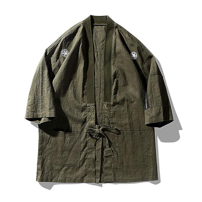 Amazon.com: Thadensama Chaqueta japonesa Kimono para hombre ...