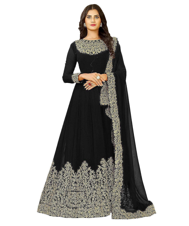 8f801754c KFHub Women Georgette Embroidered Semi Stitched Anarkali Salwar Suit Dupatta  (Black Free-Size Nitya1701-Black)  Amazon.in  Clothing   Accessories