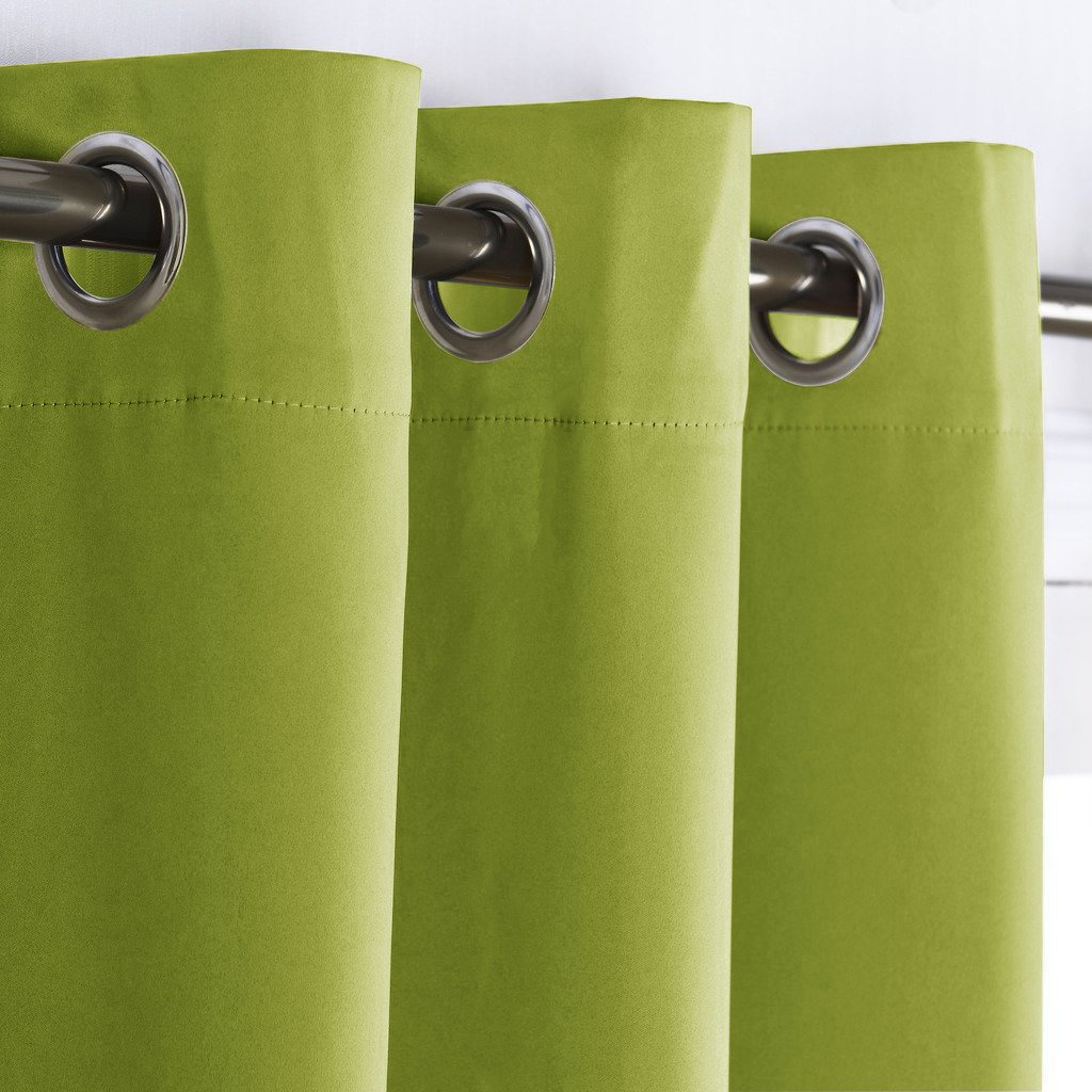 Blackout Curtain Window Panel Drape - (Green Color) Thermal Insulated Window Covering