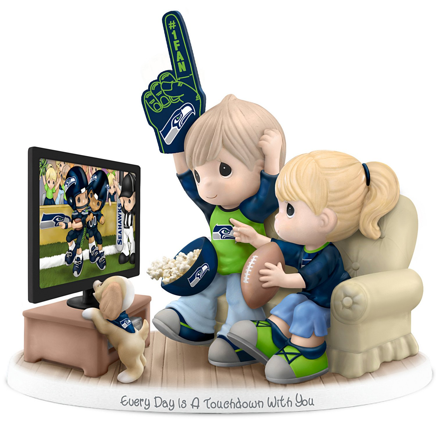 Figurine: Precious Moments Every Day Is A Touchdown With You Seahawks Figurine by The Hamilton Collection