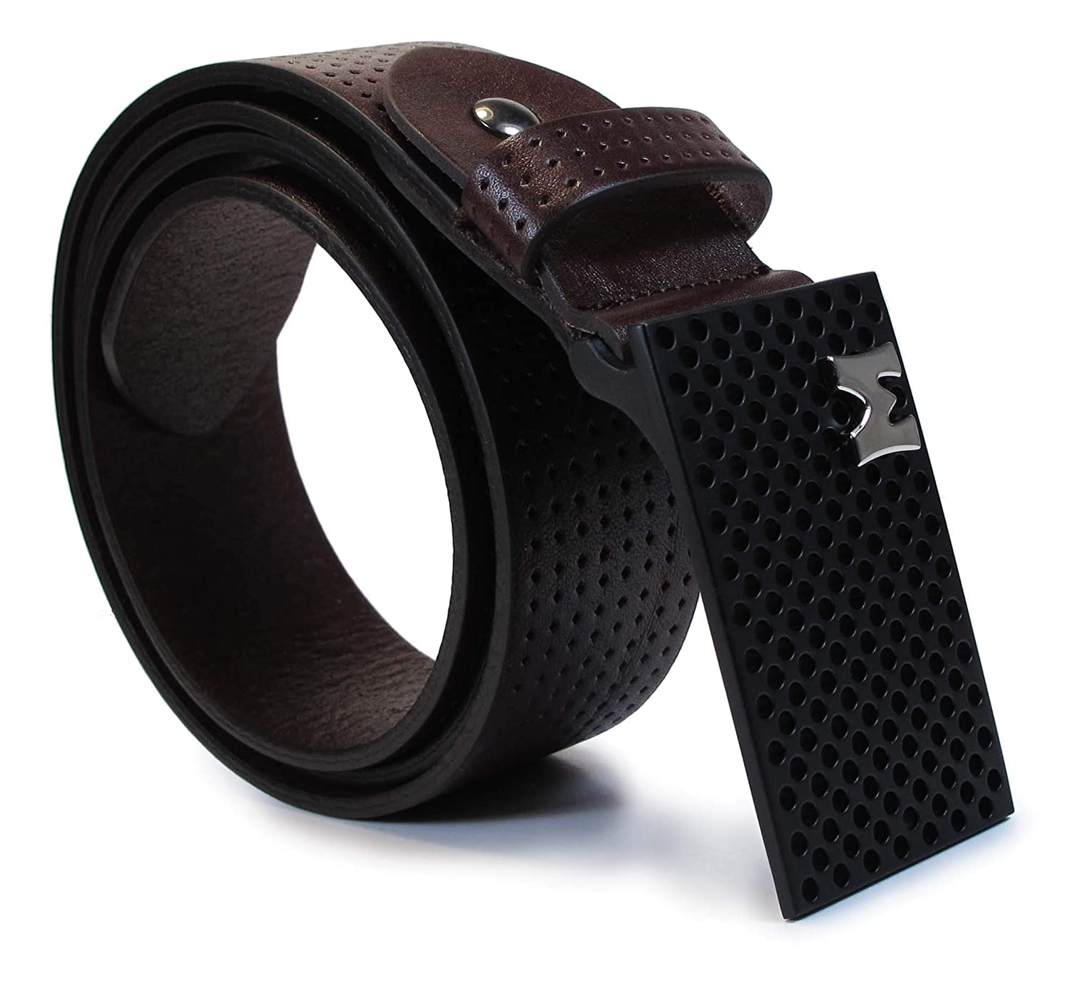 CM8 Mens Real Genuine Leather Dark Brown Belt 1.5 Wide S-L Thick Casual Jeans