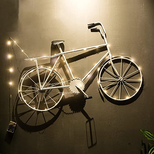 QBZS-YJ Viento Industrial Bicicleta Decoración de La Pared Bar ...
