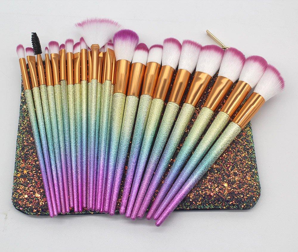 Tongsen Makeup Brushes Set Colorful 24Pcs Fantasy Set Professional Foundation Powder Eyeshadow Blending Concealer Cosmetics Tools Brushes Kit