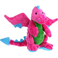 goDog Dragon with Chew Guard Technology Tough Plush Dog Toy, Pink, Large