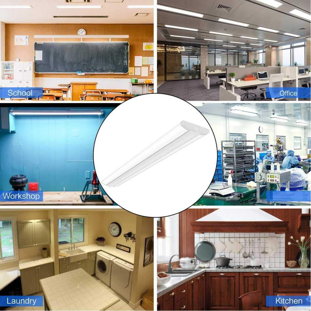 AntLux 4FT LED Wraparound Light Fixture 50W Ultra Slim LED Shop Lights for Garage, 5500 Lumens, 4000K Neutral White, 4 Foot Flush Mount Office Ceiling LED Wrap Light for Workshop Kitchen, 8 Pack by ANTLUX (Image #7)