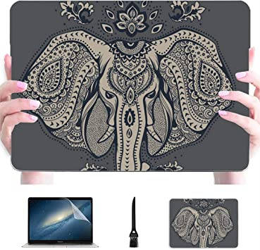 Macbook Air 13 Estuche Elefante Indio Animal étnico Plástico Carcasa Dura Compatible Mac Carcasa portátil Accesorios de protección para Macbook con Alfombrilla de ratón: Amazon.es: Electrónica